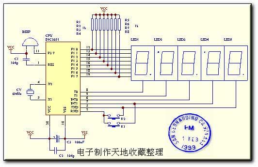 采用AT89C2051制作的智能时钟,Smart Clock 关键字:电子钟,89C2051,单片机 一、智能电子钟的功能 1、全日历计时。 2、12/24小时转换。 3、8路定时输出(可关/开控制) 4、误差:15S+1uS 5、大、小月,润年,周,自动追踪  二、 调校 上电后,电子钟显示1:00。 1、8路定时时间查询 按下K1键依此显示8路定时时间。星期位显示:H表示:打开当前定时输出;L 表示:关闭当前定时输出。此时按K2键可进行H、L的切换。所有输出,均由蜂鸣器输出! 2、显