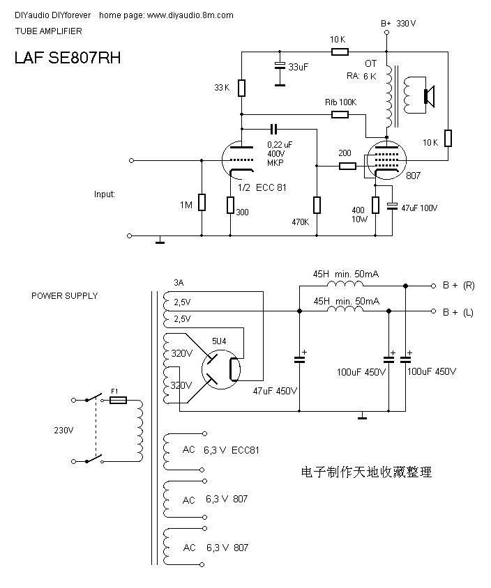 关键字:se807电子管功率放大器电路