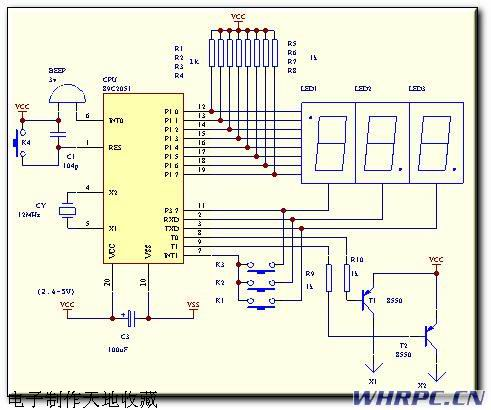 晶体管无源蜂鸣器电路图