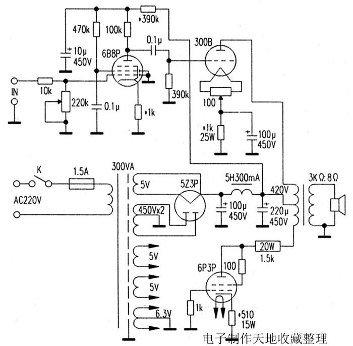 用推挽输出变压器制作300b单端输出机