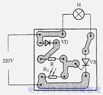 可控硅vs构成电灯h的主回路
