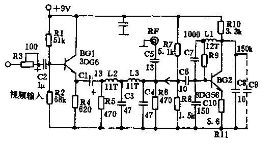 自制简易视频信号射频调制器,RF modulator 关键字:视频信号射频调制器制作,视频信号转射频电路,LA4112功率放大电路图 自制简易视频信号射频调制器 最近因录像机内视频信号射频调制器损坏,一时配件又难购买到.造成无法观看录像节目;为此自制了一台简易视频信号射频调制器,使用效果不错。该调制器原理简单,制作大便,对元件无特殊要求,很适合业余爱好者制作。 射频调频器的电路如图1所示。由R3、C2、R1、R2、R4、BG1组成射极跟随器.对视频信号进行适量放大。C1是耦合电容,R5、L2、L3、L4、
