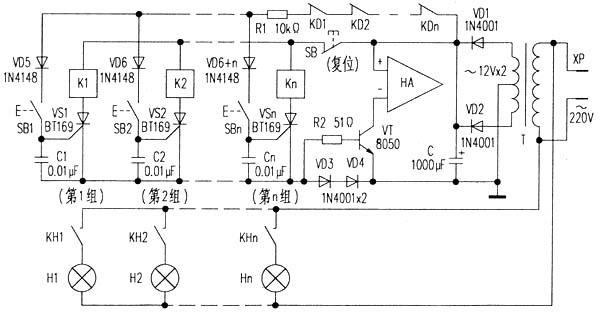 抢答开始后,假如第1小组抢先按动了SB1按钮,则VS1导通,K1通电吸合,KH1触点闭合,指示灯H1发光;与此同时,K1的常闭触点KD1断开,使其他小组按动SB2~SBn按钮时,对应VS2~VSn都无法获得触发电流而仍保持截止状态,K2~Kn亦无法吸合,则第1小组获得抢答权。另外,只要K1~Kn中任何一个继电器吸合,则串入供电回路的电压取样二极管VD3、VD4便输出约1.
