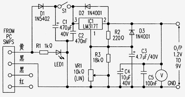 附图中二极管D1用来防止极性接反,二极管D2的用途是在输出端连接有电容性或电感性负载时可以防止输出电压高于输入电压,用VR1设定所要求的输出电压,具体电压值可从数字电压表上读出。将此电路的输入线分别与开关电源(SMPS)的四端连接器的黄线和黑线连接好,可变电源就可以使用了。调节电位器VR1可以调节所需的输出电压。