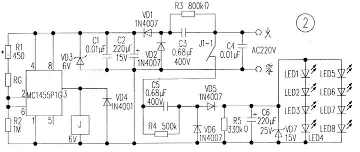 j1—1的触点不导通,220v的电压没有加到电容c5上,所以led灯不亮.