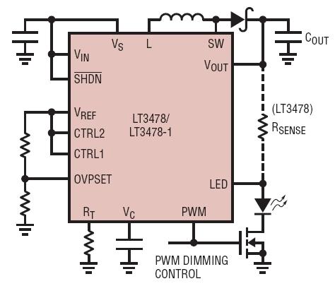 ltc3478应用电路,pwm调光通过pwm引脚来实现.