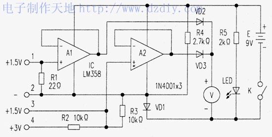 把被测干电池接入测试器1、2接线端时,电池通过电阻R1放电,放电电流约60mA。同时,电压加到A1的正输入端,则Vo=Vi,该电压通过二极管VD2加到电压表V上。由于VD2要产生约0.6V的电压,这将使电压表电压偏低。在运放的负电源端接一只二极管VD1,以抵消VD2压降带来的误差。同样,要测1.