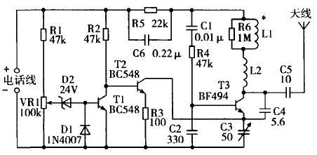 小功率调频信号发射器由晶体管t3,线圈l1等组成,t2起电子开关
