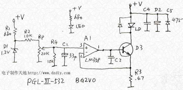 激光器可调恒流驱动电路--laser