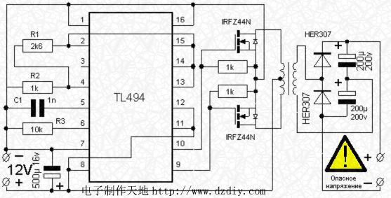 tl494 dc-dc直流变换电路