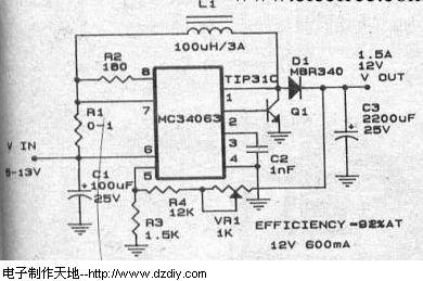 电路 升压 mc34063/关键字:MC34063 5V/5V大电流升压电路