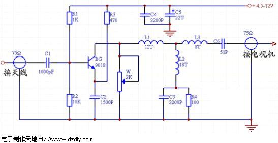 电子制作天地--天线放大器电路