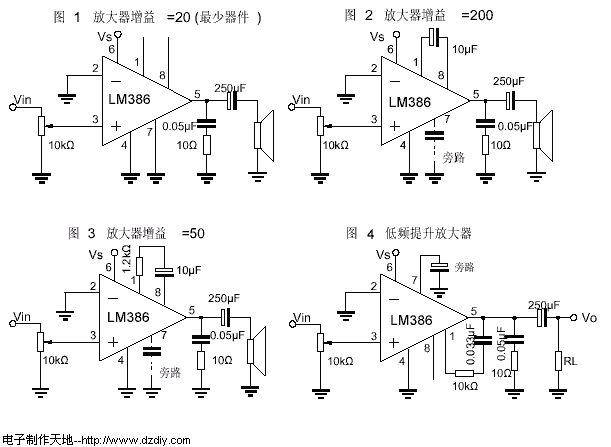 一、概述(Description): LM386是美国国家半导体公司生产的音频功率放大 器,主要应用于低电压消费类产品。为使外围元件最少,电压增益内置为20。但在1脚和8脚之间增加一只外接电阻和电容,便可将电压增益调为任意值,直至 200。输入端以地位参考,同时输出端被自动偏置到电源电压的一半,在6V电源电压下,它的静态功耗仅为24mW,使得LM386特别适用于电池供电的场 合。 LM386的封装形式有塑封8引线双列直插式和贴片式。  二、特性(Features): 静态功耗低,约为4mA,可用于电池供电