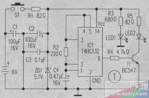 图1是小型发射器电路,它用6v电池供电