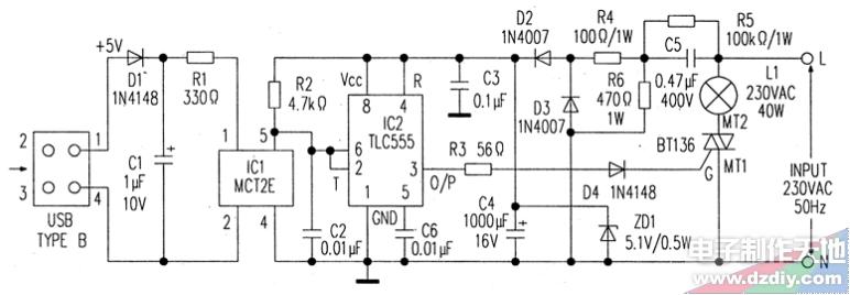 当电脑打开时,USB端口中的5V直流电压加至光耦器IC1,IC1立即导通,导通后其输出拉低IC2的和脚电位。于是IC2的输出变高,双向可控硅BT136的栅极G经R3和D4被触发,BT136导通,完成台灯的供电回路,台灯于是接通发光。