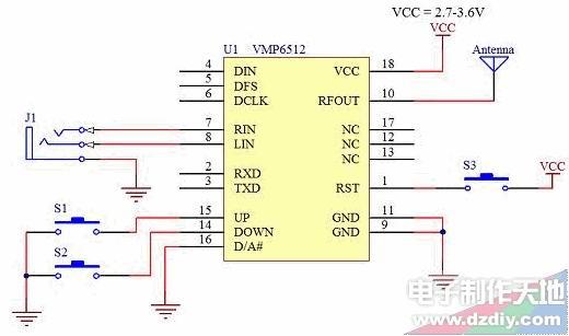 图六 VMR6512参考设计电路 上图的参考设计是基于VMR6512独立工作模式的设计。其中S1和S2分别用于调整频率升高和降低。S3用于整个模块的Reset。天线采用75cm长度的导线会获得比较好的效果。 当然也可以利用单片机或者PC机来对VMP6512进行控制,并且驳接数字信号,这样能进一步提高转发器的灵活程度并获得更高的音质。如何通过串口对VMR6512进行控制本文不再赘述。 通常情况下VMR6512的发射距离在空旷地带可以达到五六十米以上(视天线和收音机灵敏度而定),足以满足大多数需求。在一些特殊