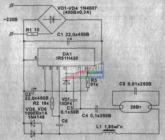 ir51h420驱动的电子镇流器电路图ir51h420 electronic ballast circui