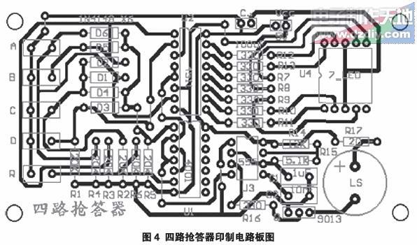 各单元设计电路如图3所示。其中C3和R6组成上电复位电路。上电后的时刻,CD4001的脚瞬时输入高电平,脚输出低电平,使LED数码管不亮,多谐振荡器停止振荡,蜂鸣器不响。无抢答输入时,集成器件CD4001的A、B、C输入端分别通过 R4、R3、R1接地(低电平)。43 线编码电路的功能是将四路抢答输入信号分别编成对应的BCD码。由于电路工作速度很快,几乎不会出现多人同时刻抢答情况,多人同时刻抢答的结果也无效。所以将多人同时刻抢答输入信号看成任意项。抢答输入为高电平,用1表示;无抢答输入为低电平