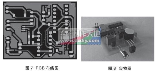 接收采用红外一体化接收头TL1838,使用非常简单,如图5,接收到红外线时,1脚输出低电平,否则,输出高电平。利用555芯片实现单稳态触发器电路,低电平触发,当接收到红外线时触发器被触发,由555定时器的3脚输出高电平,高电平的维持时间根据t=1.1RC来计算,本电路中R=R6=200K,C=C3=10uF,计算得t=2.