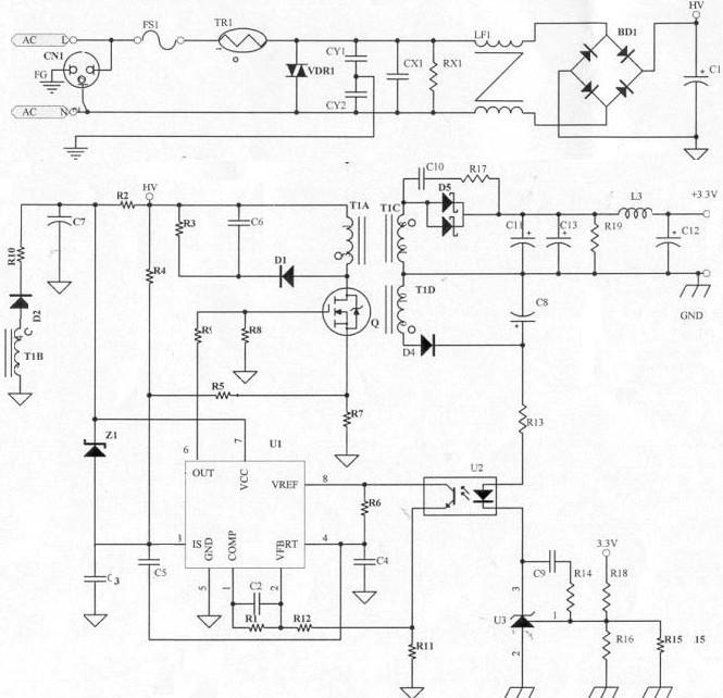 开关电源电路设计指南,Switching power supply design 关键字:开关电源设计 3.3.7 BD1(整流二极管): 将AC 电源以全波整流的方式转换为DC,由变压器所计算出的Iin值,可知只要使用1A/600V 的整流二极管,因为是全波整流所以耐压只要600V 即可。 3.3.8 C1(滤波电容): 由C1 的大小(电容值)可决定变压器计算中的Vin(min)值,电容量愈大,Vin(min)愈高但价格亦愈高,此部分可在电路中实际验证Vin(min)是否正确,若AC Input 范围