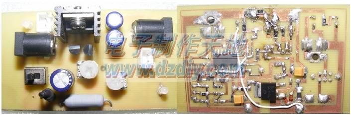 输入电压18V经过1.5A的保险丝,二极管保护后到PNP功率管的输入端。默认状态功率管是出于导通状态,因为LM324的1脚输出高,Q3三极管导通,PNP功率管基极拉低,功率管导通。其中RL1电阻为1欧姆,是用来限流的。通过对该电阻上的电压采样,然后经过LM324对基准电压的比较后取出一个电压值,由这个电压值控制功率管的输出电流,始终在一个极限电流上,或者说是短路电流上,我设置的为500MA。大家可以调节可调电阻来调节短路电流。另外还有一个对锂电池电压的采样,当电池没插入时,末级保护二极管通过两个电阻乘以功