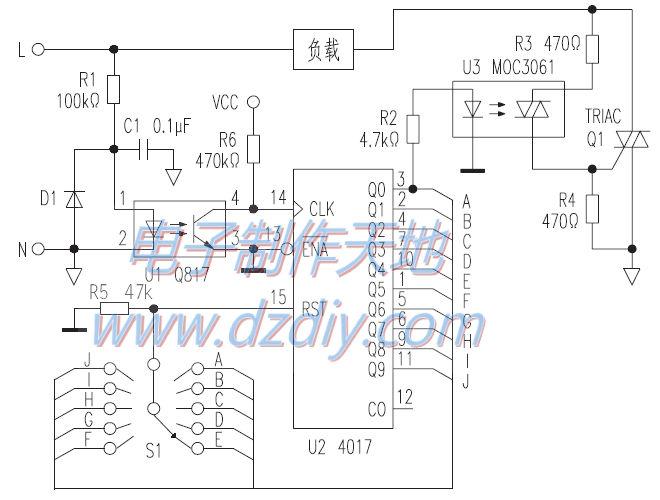cd4017多挡可控硅调温电路--cd4017 temperature