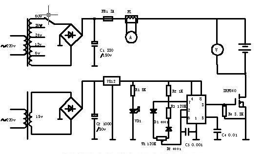 电子制作天地网站 电池充电器类  本电路简单适于自制,电流表采用 5a