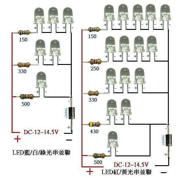 汽车上安装各色led所需电阻大小示意图--resistor